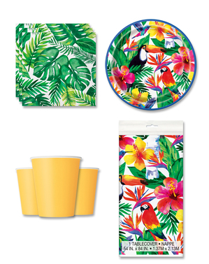 Tropical Party Decorations for 8 People - Palm Tropical Luau
