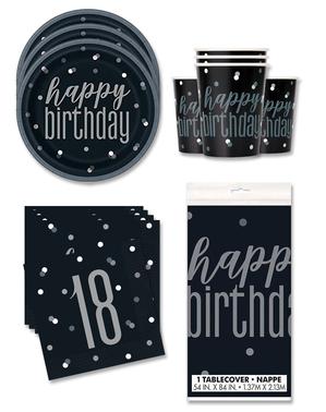 18 års Fødselsdagsdekorationer til 16 personer - Black & Silver Glitz