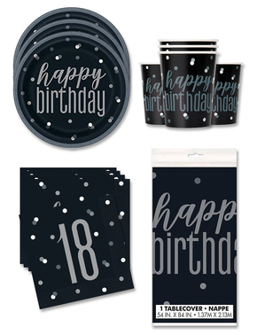 18th Birthday Party Decorations for 16 People - Black & Silver Glitz