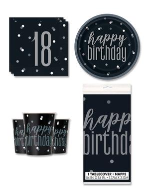18 års Fødselsdagsdekorationer til 8 personer - Black & Silver Glitz