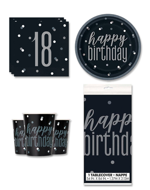 18th Birthday Party Decorations for 8 People - Black & Silver Glitz