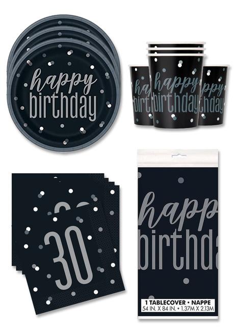 Decoración fiesta 30 cumpleaños 16 personas - Black & Silver Glitz
