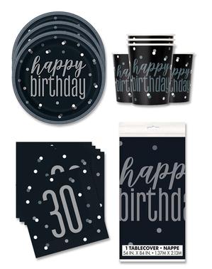 30 års Fødselsdagsdekorationer til 16 personer - Black & Silver Glitz