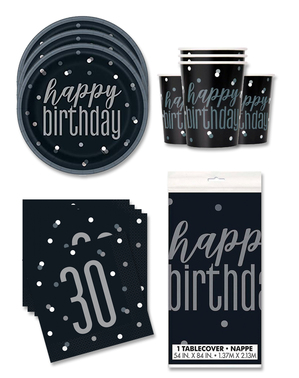 30th Birthday Party Decorations for 16 People - Black & Silver Glitz