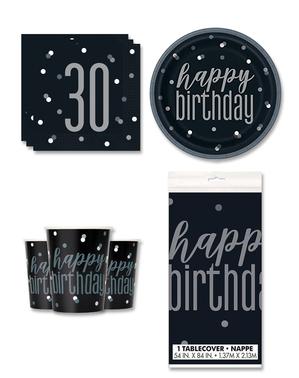 30 års Fødselsdagsdekorationer til 8 personer - Black & Silver Glitz