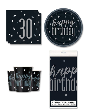 30th Birthday Party Decorations for 8 People - Black & Silver Glitz