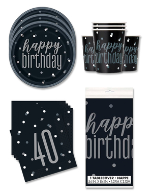 40 års Fødselsdagsdekorationer til 16 personer - Black & Silver Glitz