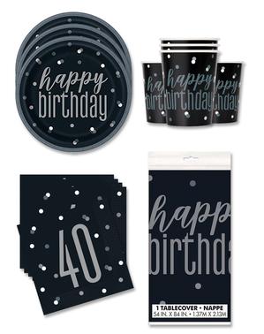 40-årsdag Bursdagspynt for 16 Personer - Black & Silver Glitz