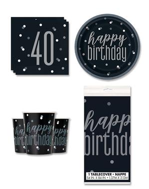 40 års Fødselsdagsdekorationer til 8 personer - Black & Silver Glitz