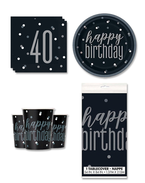 40th Birthday Party Decorations for 8 People - Black & Silver Glitz