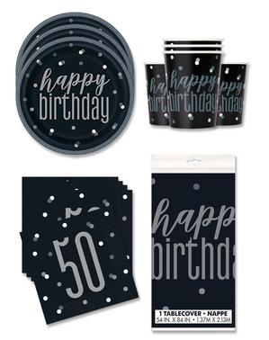 50e verjaardag Feestdecoraties voor 16 personen - Black & Silver Glitz
