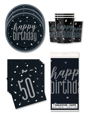 Party Deko 50. Geburtstag 16 Personen - Black & Silver Glitz