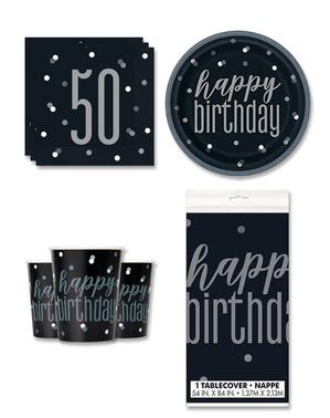 Festdekoration 50 födelsedag 8 personer - Black & Silver Glitz