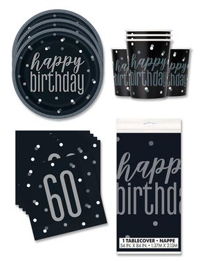 60. syntymäpäiväjuhlakoristeet 16 hengelle - Black & Silver Glitz