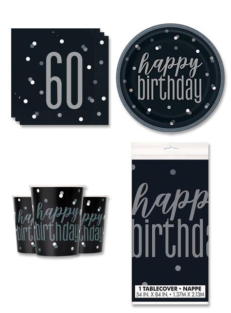 Decoración fiesta 60 cumpleaños 8 personas - Black & Silver Glitz