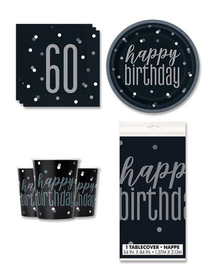 60th Birthday Party Decorations for 8 People - Black & Silver Glitz