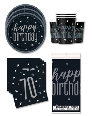 70th Birthday Party Decorations for 16 People - Black & Silver Glitz