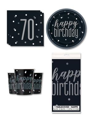 70. syntymäpäiväjuhlakoristeet 8 hengelle - Black & Silver Glitz