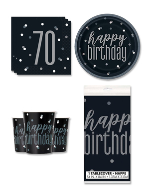 70th Birthday Party Decorations for 8 People - Black & Silver Glitz