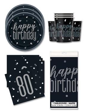 80. syntymäpäiväjuhlakoristeet 16 hengelle - Black & Silver Glitz