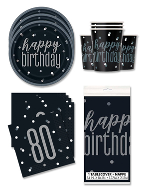 80th Birthday Party Decorations for 16 People - Black & Silver Glitz