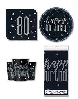80. syntymäpäiväjuhlakoristeet 8 hengelle - Black & Silver Glitz