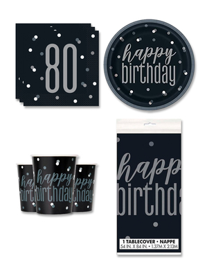 80th Birthday Party Decorations for 8 People - Black & Silver Glitz