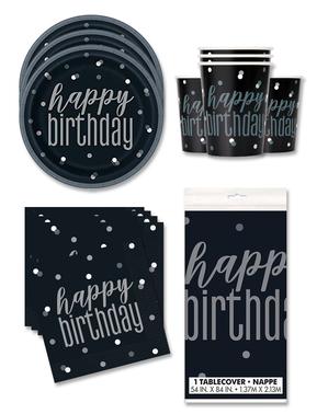 """Happy Birthday"" Festdekorasjoner for 16 Personer - Black & Silver Glitz"