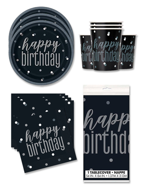"""""""Happy Birthday"""" Party Decorations for 16 People - Black & Silver Glitz"""