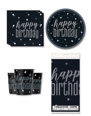 """Happy Birthday"" Festdekorasjoner for 8 Personer - Black & Silver Glitz"