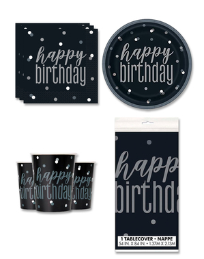 """""""Happy Birthday"""" Party Decorations for 8 People - Black & Silver Glitz"""