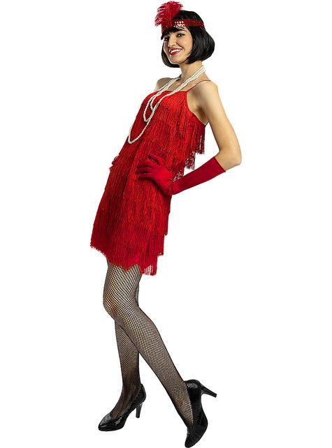 Charleston 20er Jahre Kostüm rot in großer Größe