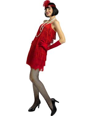 1920-Luvun Punainen Flapper-Puku Pluskoko