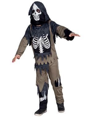 Fato de esqueleto com farrapos para menino