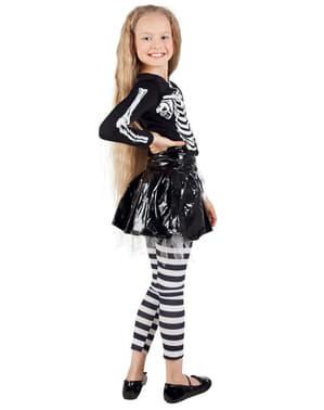 Fato de esqueleto com saia para menina