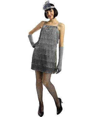 Дамски макси костюм на флапър момиче в сребристо