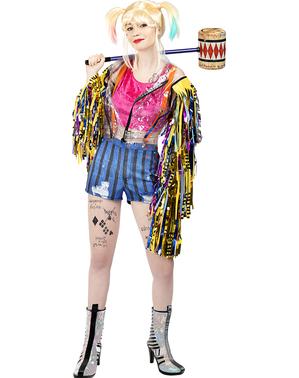 תחפושת הארלי קווין צבעונית בסגנון ציפורי הטרף למידות גדולות