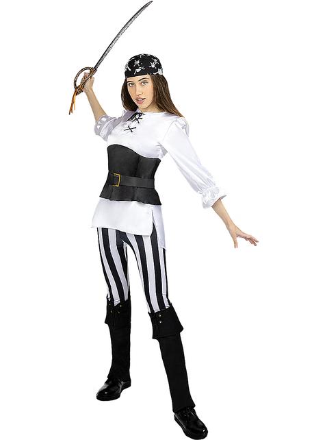 Disfraz de pirata a rayas para mujer talla grande - Colección blanca y negra