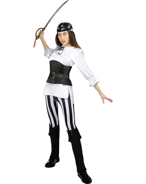 Fato de pirata às riscas para mulher tamanho grande  - Coleção branca e preta