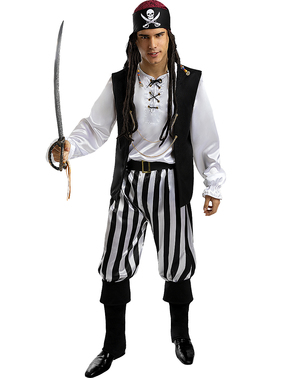 Strój w paski Pirat dla mężczyzn - Czarno-biała Kolekcja