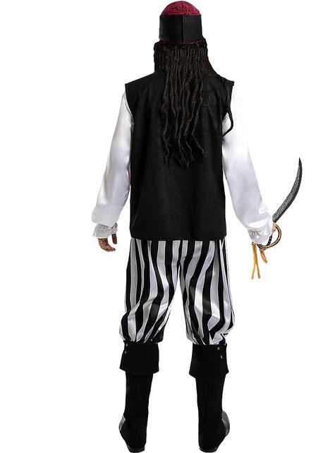 Piraten Kostüm gestreift für Herren - Schwarz und Weiß Kollektion