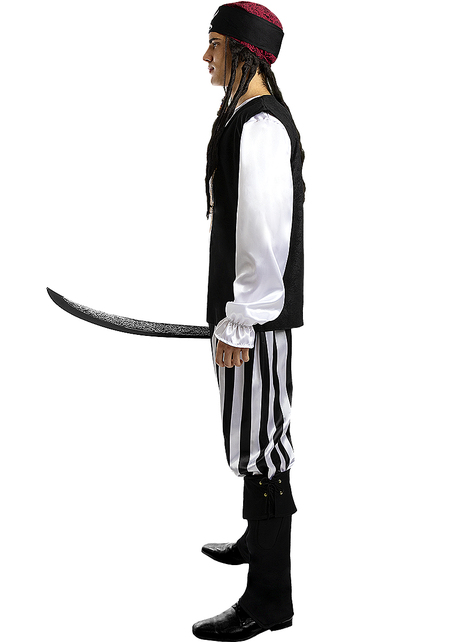 Striped Pirate Costume for Men - Black and White Collection