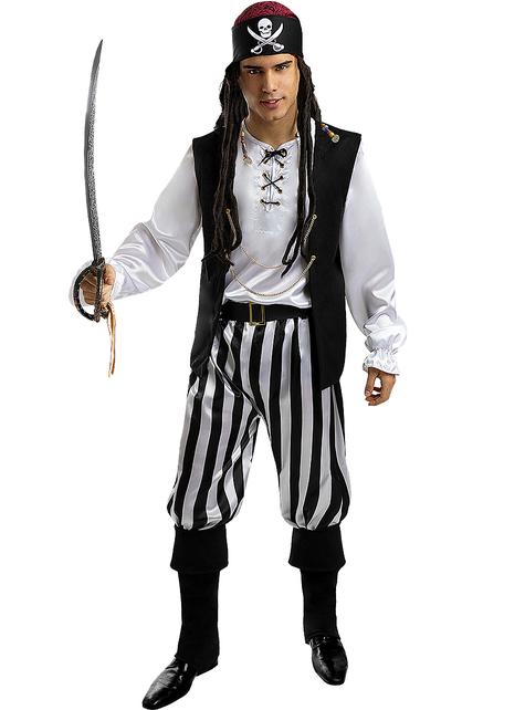 Disfraz de pirata a rayas para hombre talla grande - Colección blanca y negra