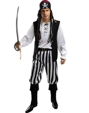 Fato de pirata às riscas para homem tamanho grande  - Coleção branca e preta