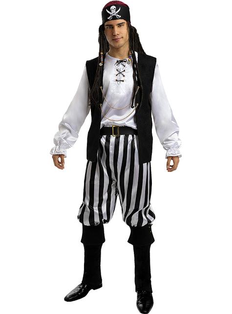 Piraten Kostüm gestreift für Herren in großer Größe - Schwarz und Weiß Kollektion