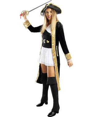 Deluxe plus size kostým pirát pro ženy - Koloniální Kolekce