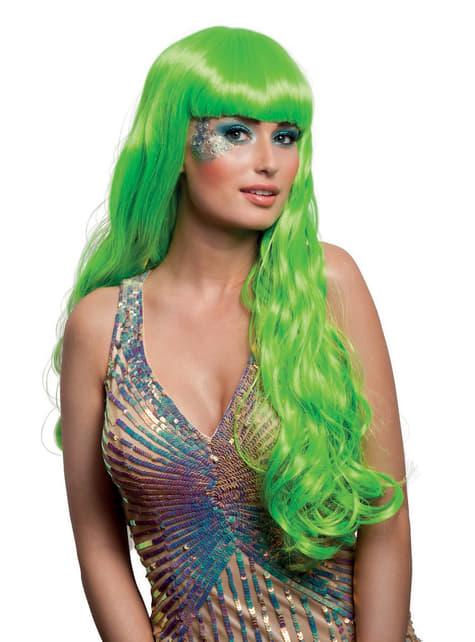 Peluca verde de sirena encantadora para mujer
