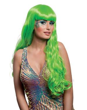Mooie groene zeemeerminpruik voor vrouw