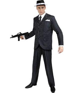 Plus size černý kostým Gangster z 20. let pro děti
