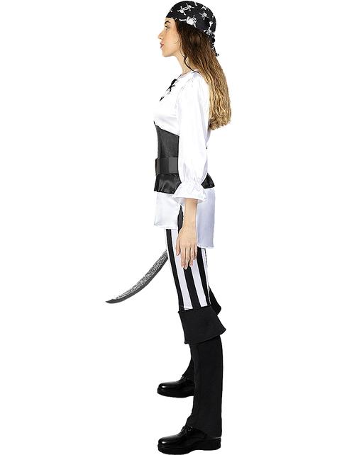 Disfraz de pirata a rayas para mujer- Colección blanca y negra